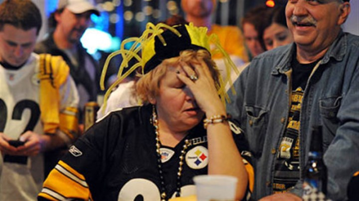 June Hough Repic - misery It's headache time for June Hough Repic when the Steelers lose the game.