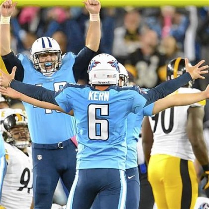 kern Titans holder Brett Kern (6) celebrates kicker Rob Bironas' winner Thursday against the Steelers in Nashville, Tenn.