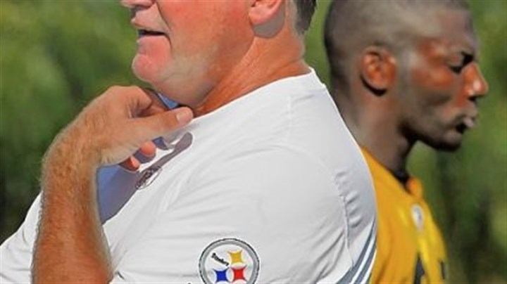 Kevin Colbert Kevin Colbert, Director of Football Operations for the Pittsburgh Steelers surveys a training camp practice last year while safety Ryan Clark walks by behind him.