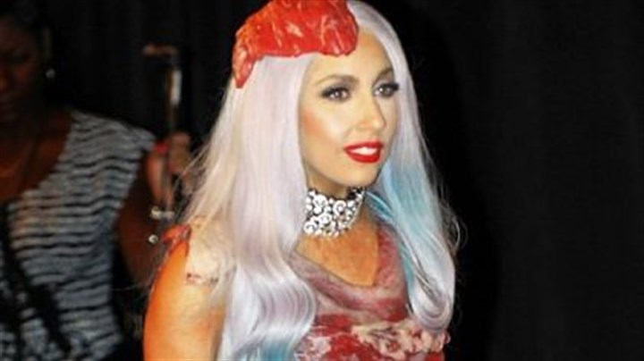 Lady Gaga wearing her infamous meat dress Anything Lady Gaga is super hot this Halloween.