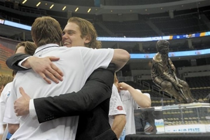 LeBlanc1 St. Cloud State senior center Drew LeBlanc hugs a teammate after winning the 2013 Hobey Baker Award for college hockey's top player in a ceremony Friday at Consol Energy Center