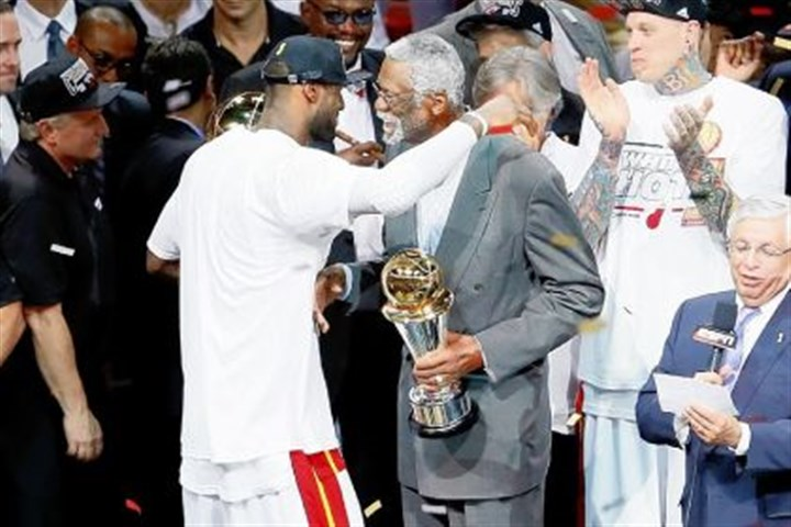 LeBron James and Bill Russell. LeBron James and Bill Russell.