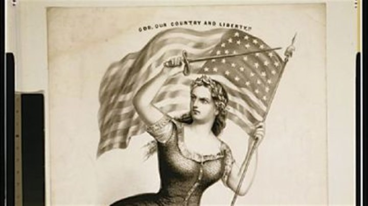 Library of Congress, Prints and Photographs Division In a 1861 image published by Currier & Ives, Miss Columbia is armed with a sword and grasps an American flag.