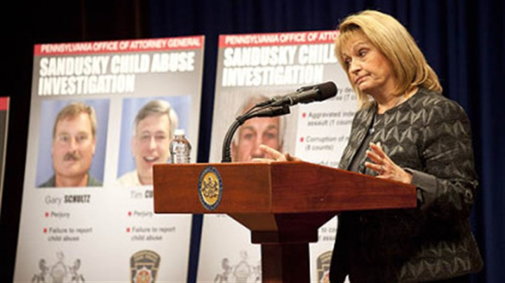 Linda Kelly Pennsylvania Attorney General Linda Kelly on Monday discusses the details surrounding the case of Penn State former defensive coordinator Jerry Sandusky and allegations against him of sex abuse crimes involving young boys.