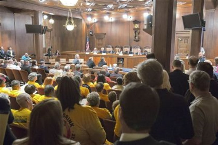 liquor privatization An overflow crowd listens in at a state Senate Law and Justice Committee hearing in Harrisburg Tuesday, where the topic was whether the state should scrap the 80-year-old liquor monopoly for a free market system.