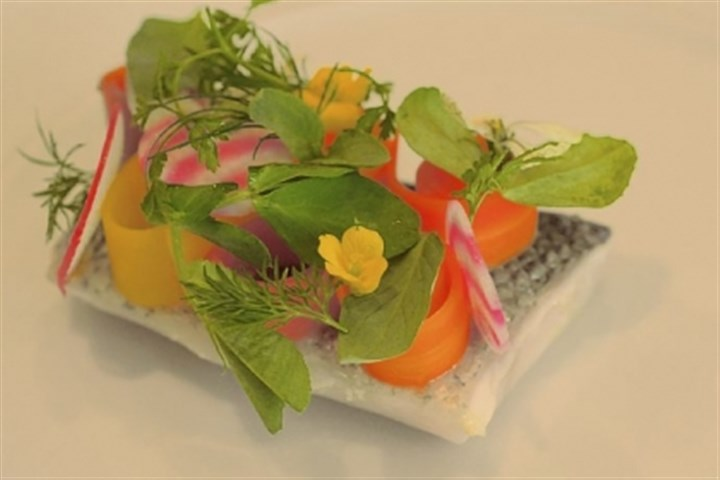 Loup de Mar Loup de Mar with escabeche vegetables, herbs and flowers, at Notion.