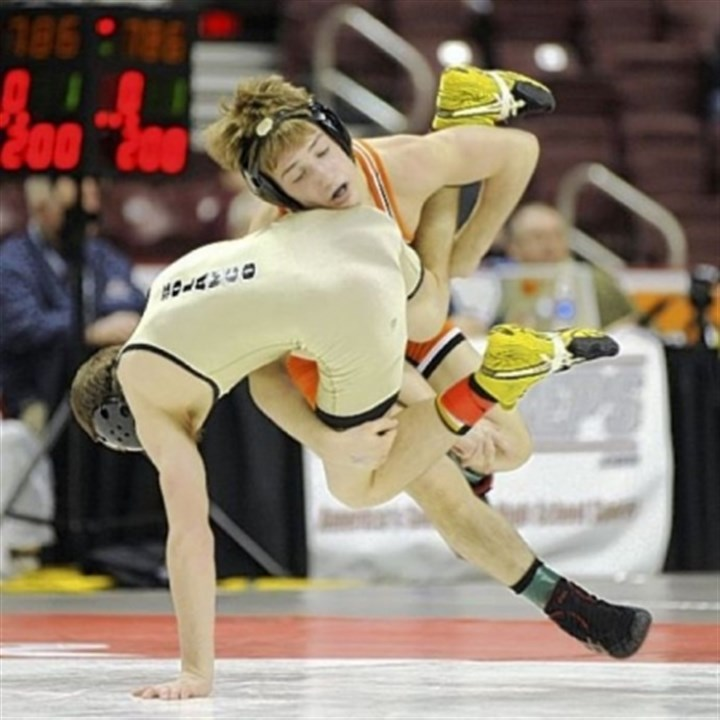 Luke Pletcher Greater Latrobe's Luke Pletcher flips Solanco's Connor Sheenan in the PIAA Class AAA 106-pound title match.
