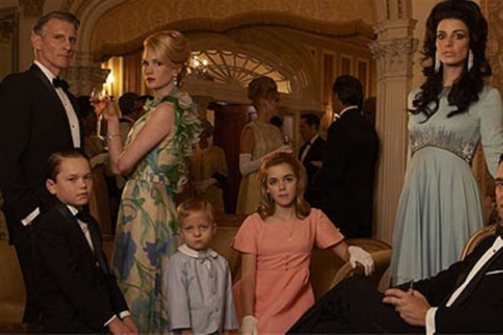 "Mad Men cast Henry Francis (played by Christopher Stanley), left, Bobby Draper (Mason Vale Cotton), Betty Francis (January Jones), Gene Draper (Evan and Ryder Londo), Sally Draper (Kiernan Shipka), Megan Draper (Jessica Pare) and Don Draper (Jon Hamm) on ""Mad Men."""