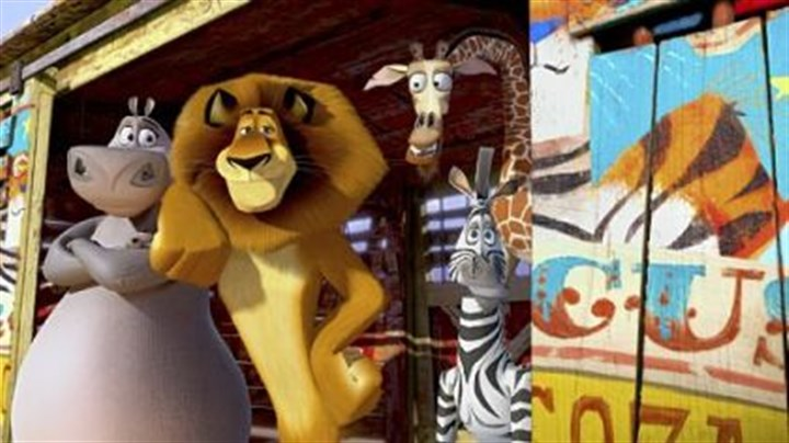 "'Madagascar 3' Gloria the hippo (voice of Jada Pinkett Smith), Alex the lion (Ben Stiller), Melman the giraffe (David Schwimmer) and Marty the zebra (Chris Rock) join a traveling circus in ""Madagascar 3: Europe's Most Wanted."""
