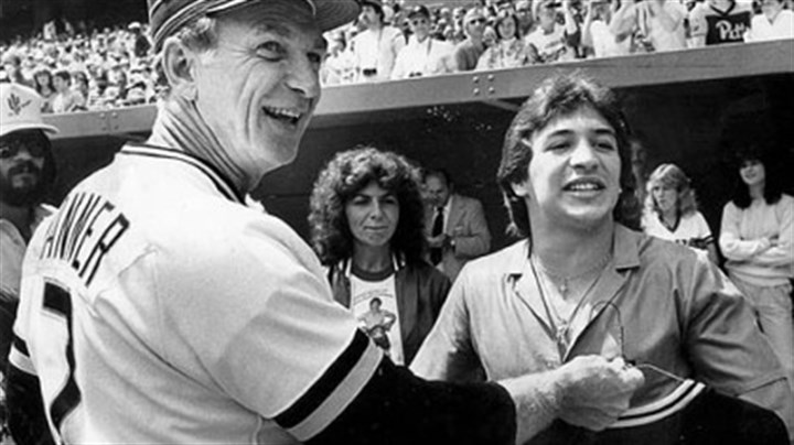 "Mancini with Tanner Lightweight boxing champion Ray ""Boom Boom"" Mancini receives a Pirates jersey from former Pirates manager Chuck Tanner in 1982 at Three Rivers Stadium."