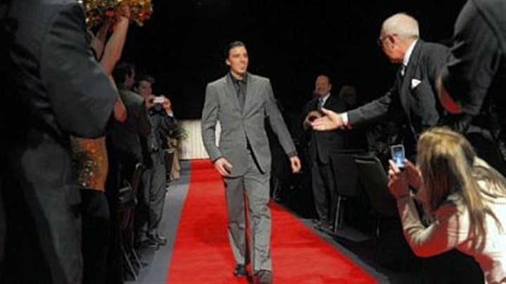 Marc-Andre Fleury red carpet Penguins goalie Marc-Andre Fleury makes his way down the red carpet Monday at the Dapper Dan Banquet at David Lawrence Convention Center. Penguins coach Dan Bylsma and Fleury were honored as co-Sportsmen of the Year.