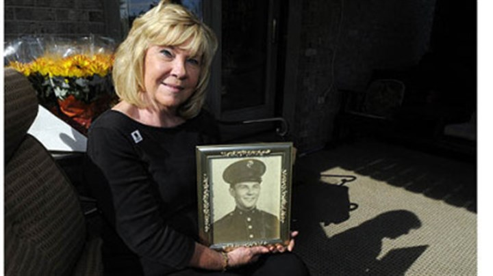 Marilyn Hendricks Claassen Marilyn Hendricks Claassen holds a portrait of her uncle Jack Yeager, a Marine tail gunner in World War II whose remains were found in the Pacific Islands in 2009 and are to be buried Saturday in New Kensington. Ms. Claassen wears his wedding ring on her right hand.