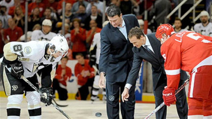 Mario Lemieux and Steve Yzerman The NHL brought out Mario Lemieux and Detroit great Steve Yzerman to drop the ceremonial first pucks before Game 1 last night at Joe Louis Arena.