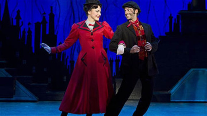 "Mary Poppins Madeline Trumble stars as Mary Poppins and Con O'Shea Creal plays Bert in ""Mary Poppins"" national company at the Benedum Center."