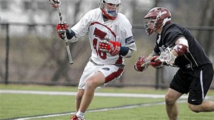 Matisz Senior midfielder Kiel Matisz, left, has helped lead the Robert Morris lacrosse team to a national ranking this season. The Colonials are playing host to the Northeast Conference tournament, which begins today.