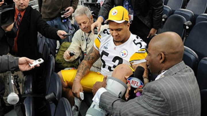 Maurkice Pouncey Steelers center Maurkice Pouncey shows NFL Network's Deion Sanders his injured left ankle during Super Bowl XLV Media Day at Cowboys Stadium in Arlington, Texas Tuesday.