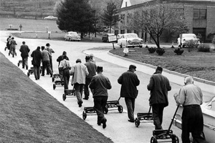 mayview timeline 4 Formerly homeless men mow the lawn in 1958, part of industrial and occupational therapy bringing patients out of withdrawn state into the sunshine of society.