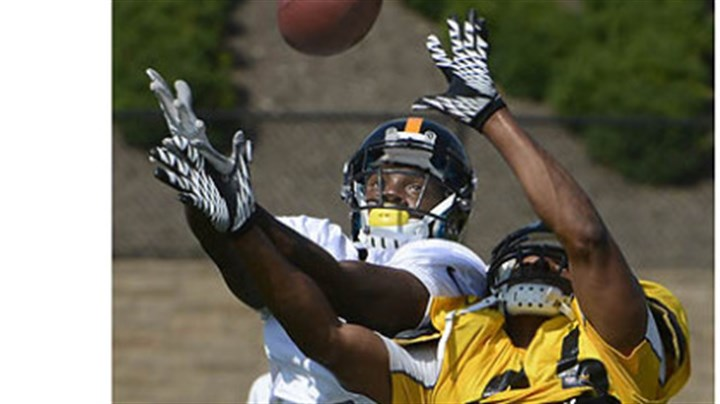 maze Steelers wide receiver Marquis Maze is defended by safety Will Allen during drills.