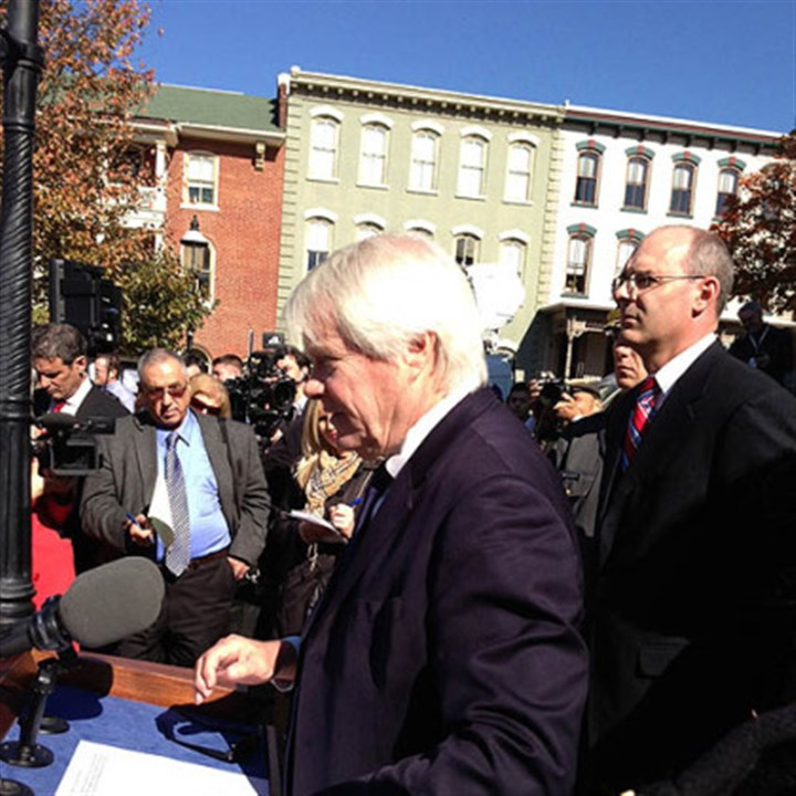 mcgettigan speaks Prosecutor Joseph McGettigan outside the Centre County Courthouse