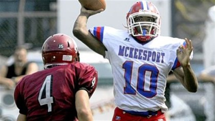 McKeesport quarterback Ty-Meer Brown McKeesport quarterback Ty-Meer Brown passes under pressure from St. Joseph's Stephen O'Hara yesterday in Wheeling, W.Va.