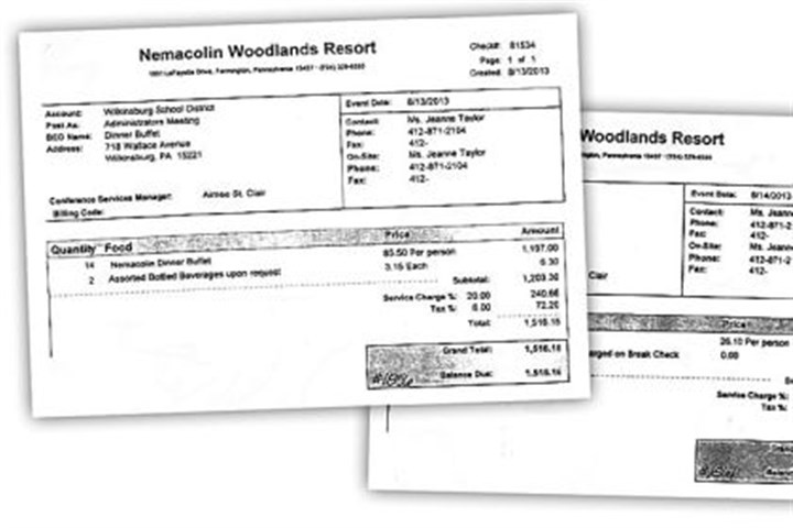 Meal receipts Among the expenses that administrators for the Wilkinsburg School District incurred during a recent retreat: a dinner buffet bill for 14 people that came out to $1,516 ($85.50 per person), at left, and a breakfast buffet bill for 12 people of $395 ($26.10 per person). Totals include taxes and service charge.