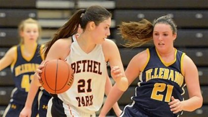 Megan Marecic Bethel Park's Megan Marecic, who leads the team in scoring, drives to the basket against Mt Lebanon's Alex Ventrone during a game last week.