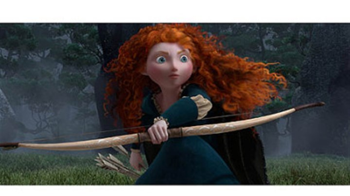 "Merida (voice by Kelly Macdonald) Merida (voice by Kelly Macdonald) in the Disney/Pixar movie ""Brave."""