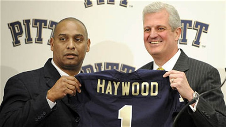 Michael Haywood and Steve Pederson New Pitt head coach Michael Haywood poses with athletic director Steve Pederson during a press conference Thursday.
