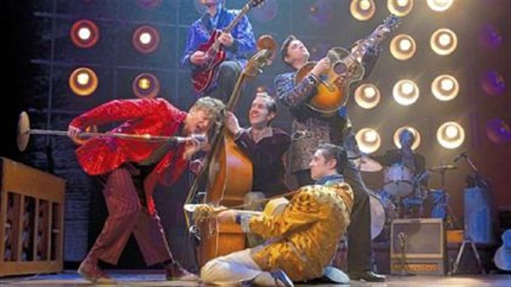 "'Million Dollar Quartet' The ""Finale Pyramid"" in the original Broadway company of ""Million Dollar Quartet."""
