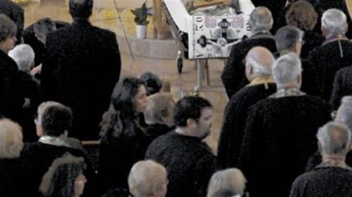 Mourners Mourners pay their last respects before the funeral of Metropolitan Nicholas at Christ the Saviour Cathedral in Johnstown on Friday.