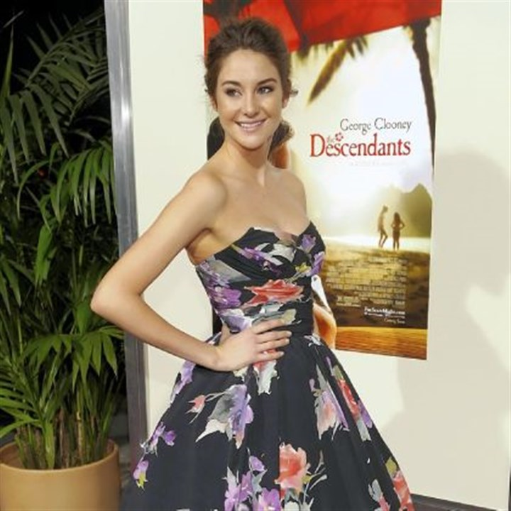 "Movie to film in Pittsburgh Shailene Woodley, shown at the premiere of ""The Descendants"" on Nov. 15, 2011, in Los Angeles, will star in ""The Fault in Our Stars,"" which will be filmed in Pittsburgh."