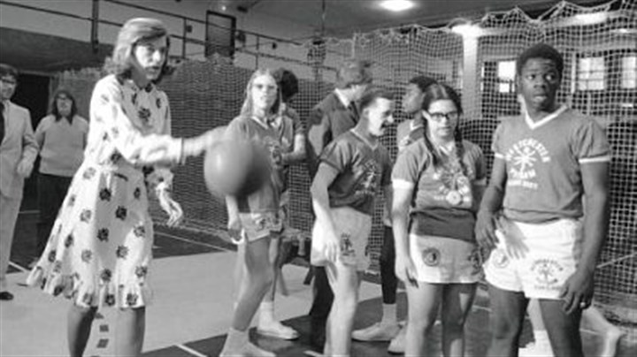 Mrs. Shriver at the Margaret Chapman School In this Feb. 28, 1975, photo, Mrs. Shriver -- who founded the Special Olympics -- plays basketball with developmentally disabled children from the Margaret Chapman School in Hawthorne, N.Y.