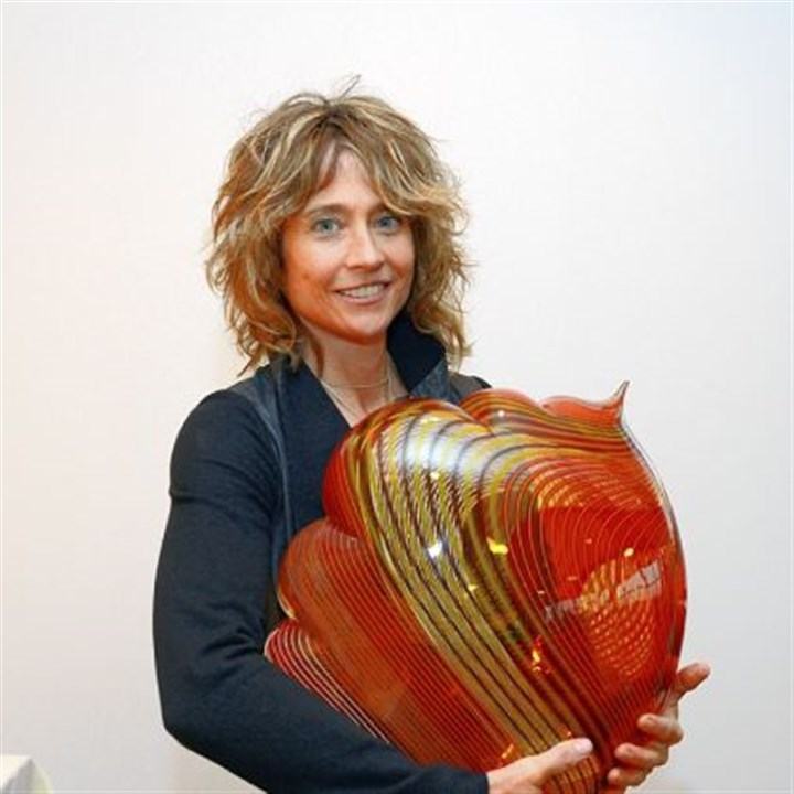 "Nancy Callan Glass artist Nancy Callan with her work ""Mandolin Cloud."""