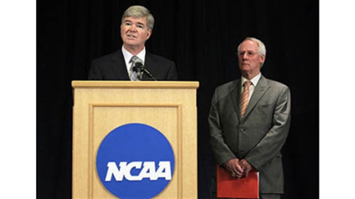 ncaa sanctions podium psu NCAA President Mark Emmert, left, announces penalties against Penn State as Ed Ray, NCAA Executive Committee chair looks on.