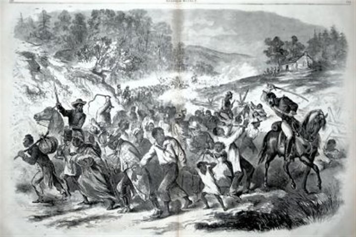 "'Negroes Driven South' This illustration, captioned ""Negroes Driven South by Rebel Officers,"" appeared in Harper's Weekly for Nov. 8, 1862. The purpose of the roundup, which occurred near Leesburg, Va., in early November 1862, was to move the enslaved people farther south as Union forces approached, the editor wrote."