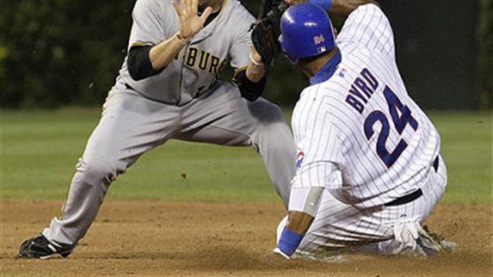 Neil Walker The Cubs' Marlon Byrd steals second base as Neil Walker is unable to field a throw from catcher Ryan Doumit Monday at Wrigley Field.