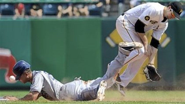Neil Walker Neil Walker can't come up with the ball as San Diego's Will Venable slides into second base in the seventh inning Sunday.