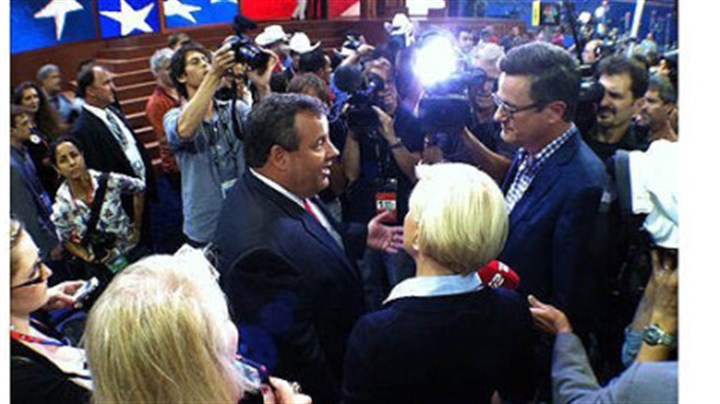 New Jersey Gov. Chris Christie New Jersey Gov. Chris Christie was swamped by media when he entered the Republican National Convention in Tampa, Florida.