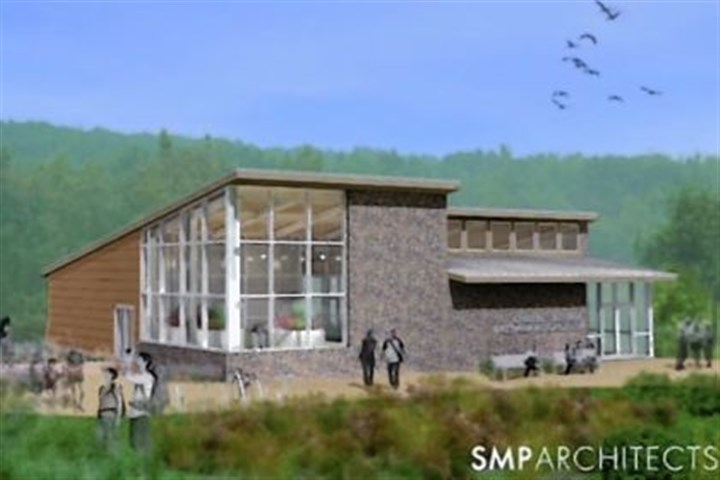New visitors center being built at Ohiopyle This rendering, provided by SMP Architects, shows the final version of the new visitors center being built at Ohiopyle.