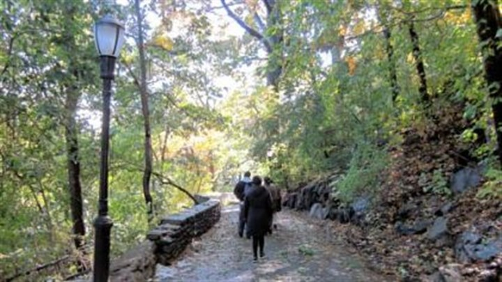 New York Shorewalkers Members of Shorewalkers hike along a forested path in Fort Tryon Park, which borders the Hudson River in northern Manhattan.