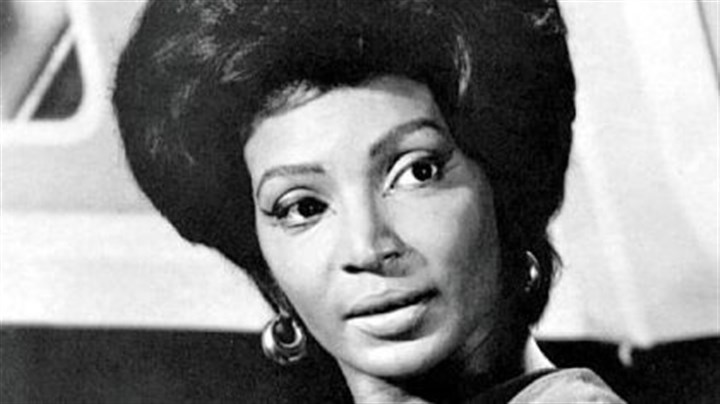 "Nichelle Nichols Nichelle Nichols during filming of the original ""Star Trek"" series."