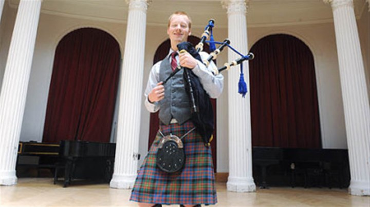 "Nick Hudson CMU senior and bagpipe major Nick Hudson -- ""Some people think it's cool, some people think it's crazy, but everyone has a reaction, that's for sure."""