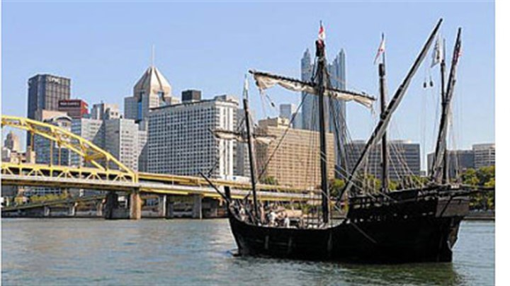 Nina A replica of the Nina, one of Christopher Columbus' ships from 1492, arrives in Pittsburgh Thursday. Both the Nina and Pinta are docked at the North Shore Riverfront Park and open to the public for tours.