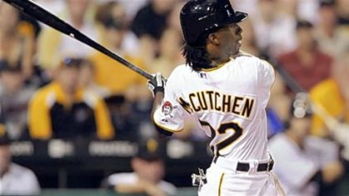 No. 3 Andrew McCutchen hits his third home run of the game in the sixth inning against the Nationals last night.