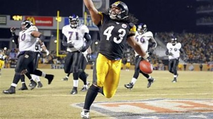 No. 5: 2008 AFC Championship The Steelers' Troy Polamalu crosses the endzone after intercepting a ball against the Ravens late in the fourth quarter of the AFC Championship at Heinz Field Sunday. The win, in a particularly violent game, sent the Steelers to Super Bowl XLIII.