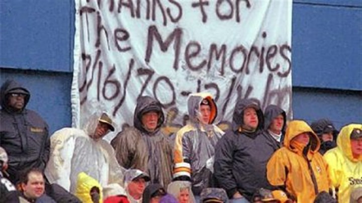 No. 9: A proper sendoff for Three Rivers Pittsburgh Steelers fans brave a first-half downpour to watch the Steelers' final game at Three Rivers Stadium against the Washington Redskins Dec. 16, 2000, in Pittsburgh. The Steelers won 24-3.