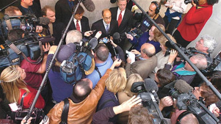"""NOVA: Intelligent Design on Trial"" Attorney Eric Rothschild addresses the media outside the federal courthouse in Harrisburg on Nov. 4, 2005, following closing arguments in the landmark federal trial over whether a school board intended to promote religion when it included ""intelligent design"" in a high school biology curriculum. The case, which took place in Dover, York County, is the focus of tonight's ""NOVA"" on PBS."