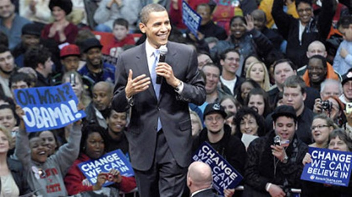 Obama campaigns Sen. Barack Obama, D-Ill., campaigns in front of a capacity crowd at Youngstown State University's Beeghly Center yesterday.