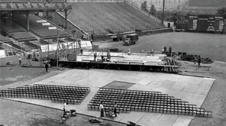 """Opera Under The Stars"" ""Opera Under The Stars"" presentation of Aida at Forbes Field in 1943."