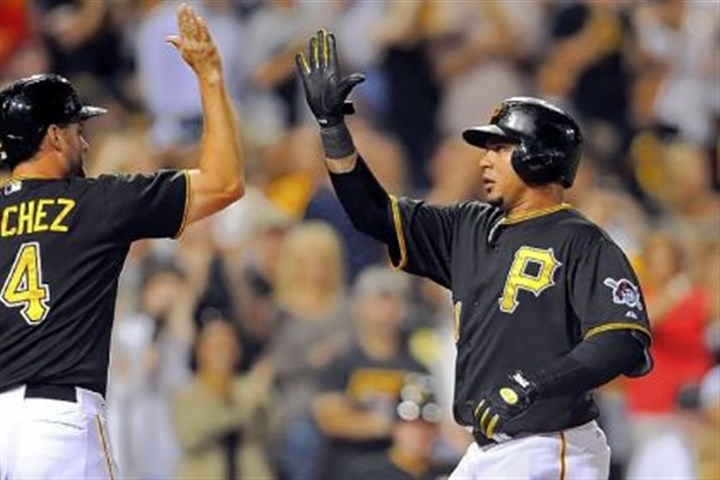 Outfielder Jose Tabata Outfielder Jose Tabata is congratulated by Gaby Sanchez after Tabata hit a two-run home run in the eighth inning Friday against the Diamondbacks at PNC Park.